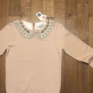 Brand new boden sweater with jeweled collar